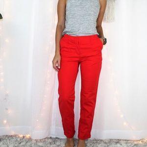Zara Basic Red High Waist Cuffed Pants